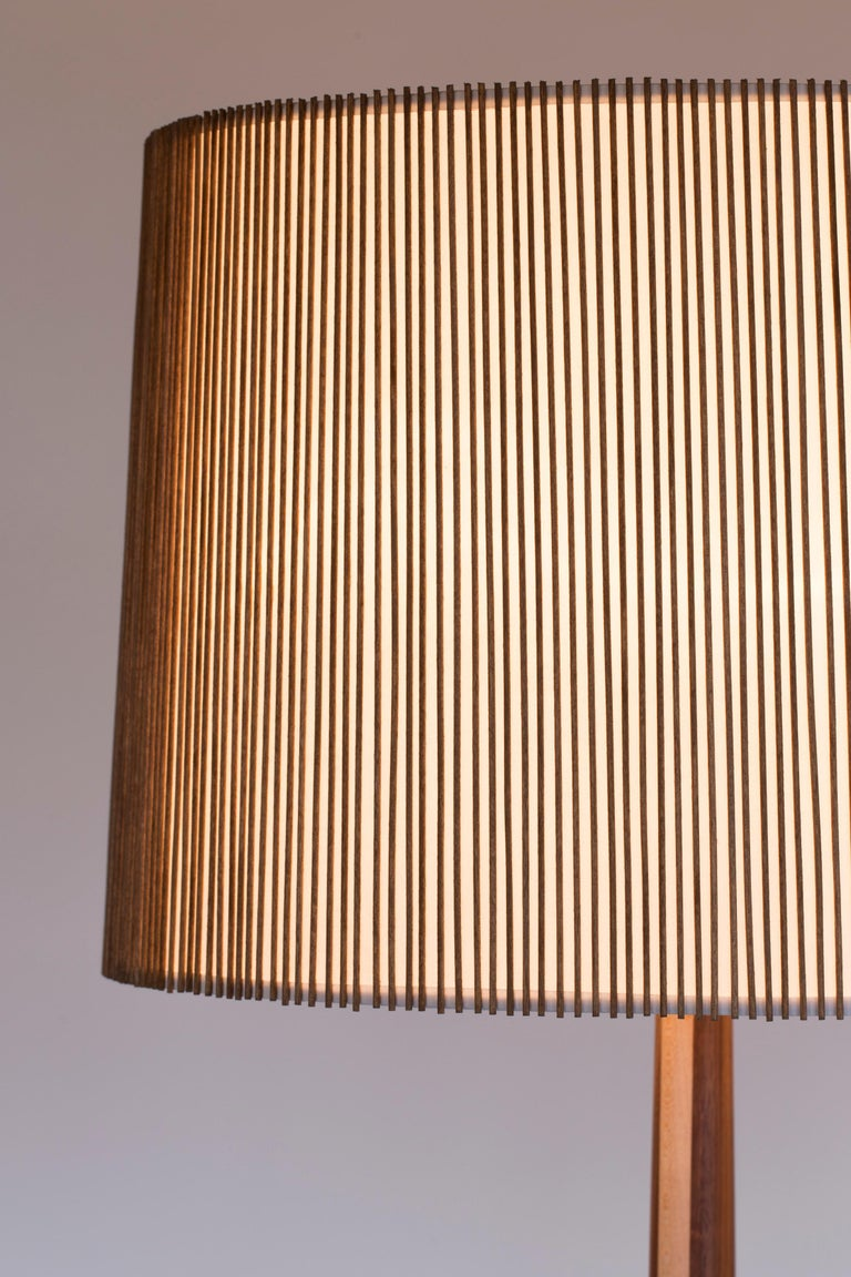American Walnut and Birch Standing Floor Lamp by Mel Smilow For Sale