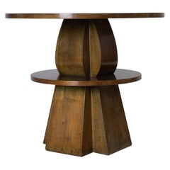 Walnut and Birdseye Maple, Round Side Table, Giacomo Cometti, 1928