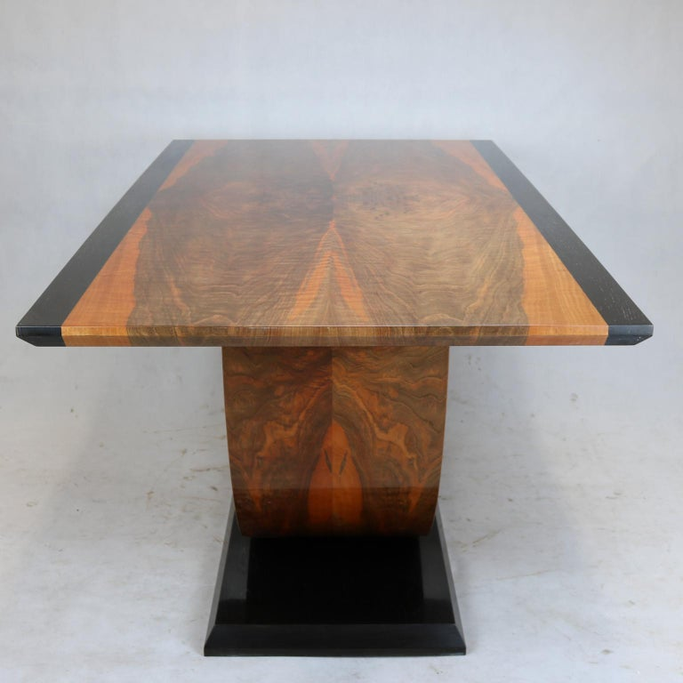 Art Deco Walnut and Black Mud Oak Dining Table, New 2018 For Sale