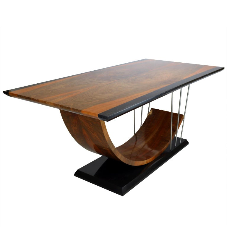 Walnut and Black Mud Oak Dining Table, New 2018 For Sale