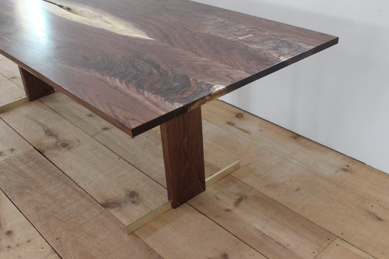 Walnut and Brass Canyon Dining Table II with Live Edge Inlay and Trestle Base In New Condition For Sale In Gallatin, NY