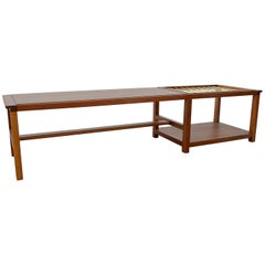Walnut and Brass Coffee Table with Magazine Rack by Dunbar