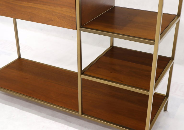 Walnut and Brass Étagère Bookcase Shelving Wall Unit McCobb Style For Sale 3