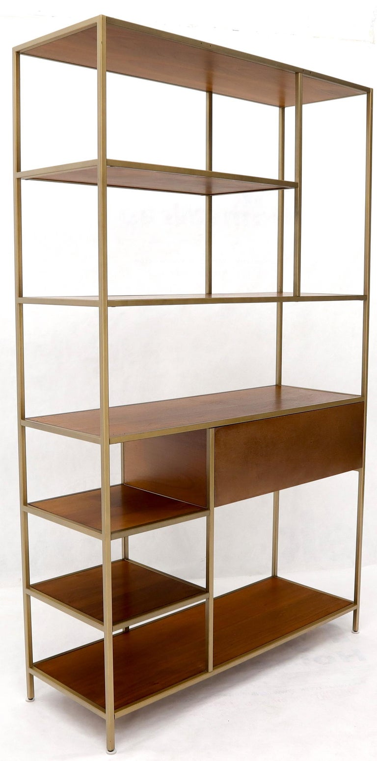 Walnut and Brass Étagère Bookcase Shelving Wall Unit McCobb Style For Sale 4