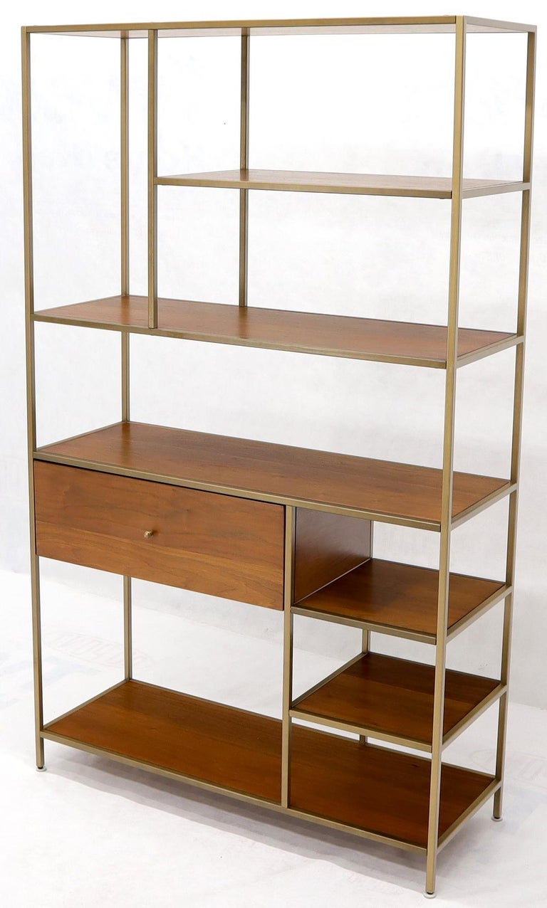 Mid-Century Modern Walnut and Brass Étagère Bookcase Shelving Wall Unit McCobb Style For Sale