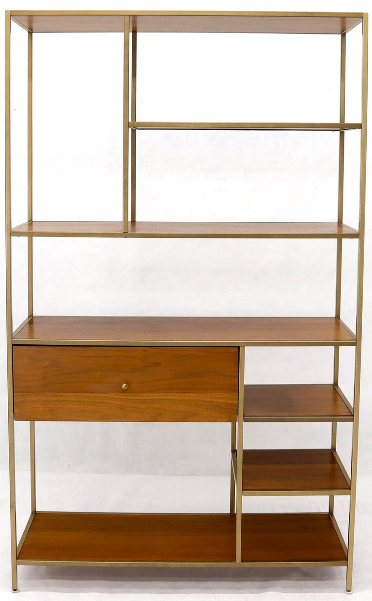 Unknown Walnut and Brass Étagère Bookcase Shelving Wall Unit McCobb Style For Sale