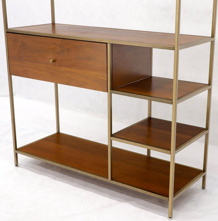 Lacquered Walnut and Brass Étagère Bookcase Shelving Wall Unit McCobb Style For Sale