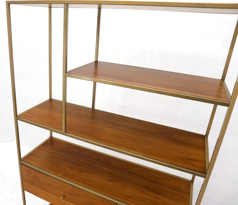 Walnut and Brass Étagère Bookcase Shelving Wall Unit McCobb Style For Sale 1