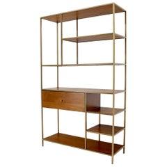 Walnut and Brass Étagère Bookcase Shelving Wall Unit McCobb Style