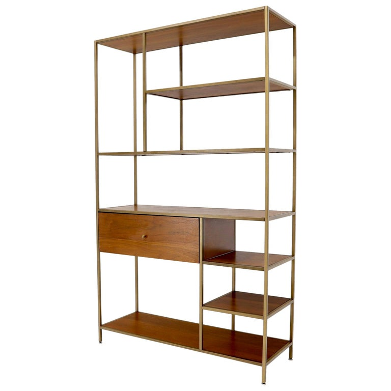 Walnut and Brass Étagère Bookcase Shelving Wall Unit McCobb Style For Sale