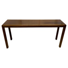 Walnut and Brass Inlay Console by Baker Furniture Company