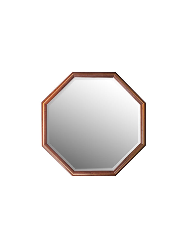 Mid-Century Modern Walnut and Brass Inlay Elongated Octagon Framed Mirror For Sale