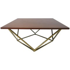 Walnut and Brass Midcentury Coffee Table