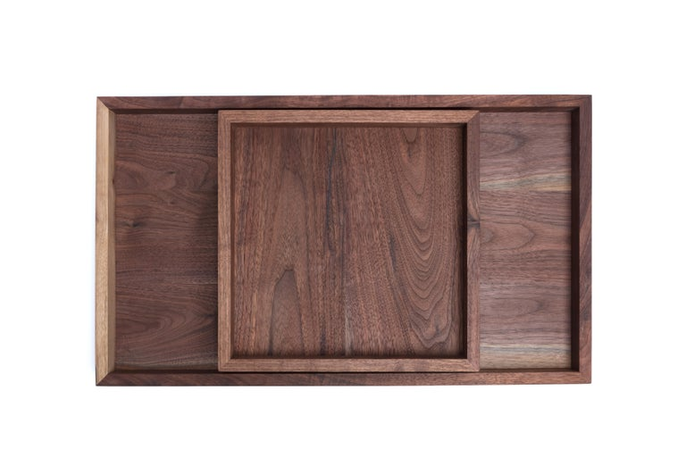 Contemporary Walnut Wood and Brass Serving or Barware Tray by Alabama Sawyer For Sale