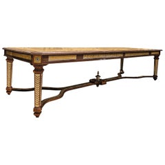 Walnut and Briar Dining Table with Gold Leaf Inlay