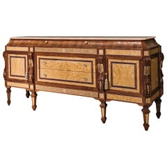Walnut and Briar Sideboard with Onice Miele Marble Top