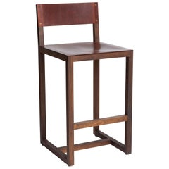 Walnut and Brown Leather Counter Stools by BDDW, Two Available