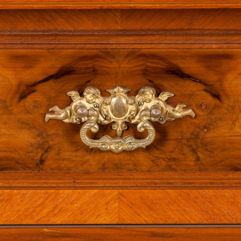 Walnut and Burr Walnut Chest of Drawers For Sale 2