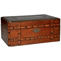 Walnut and Cedar Wooden Inlay Box with Leather Hinges, 20th Century