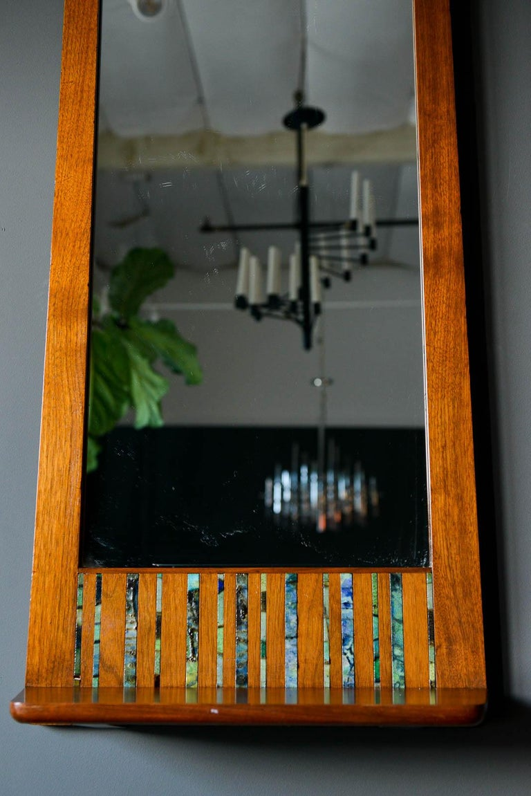 Mid-Century Modern Walnut and Ceramic Tile Floating Shelf Mirror by Harris Strong, circa 1965 For Sale