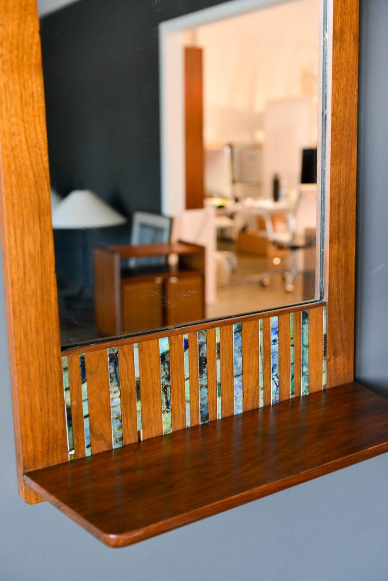 American Walnut and Ceramic Tile Floating Shelf Mirror by Harris Strong, circa 1965 For Sale