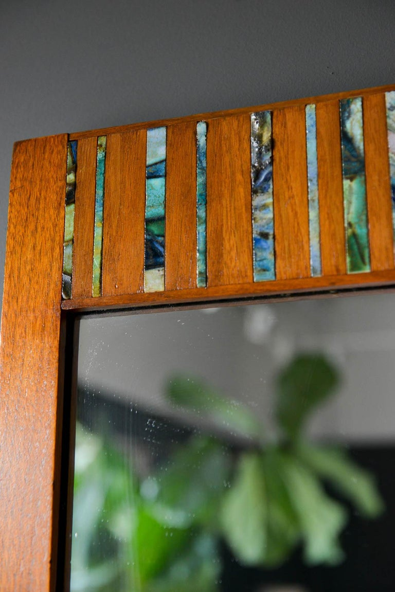 Mid-20th Century Walnut and Ceramic Tile Floating Shelf Mirror by Harris Strong, circa 1965 For Sale