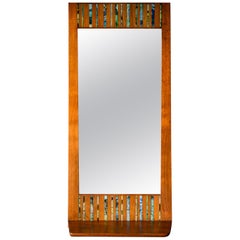 Walnut and Ceramic Tile Floating Shelf Mirror by Harris Strong, circa 1965