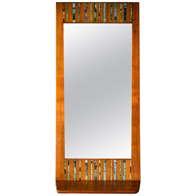 Walnut and Ceramic Tile Floating Shelf Mirror by Harris Strong, circa 1965 For Sale