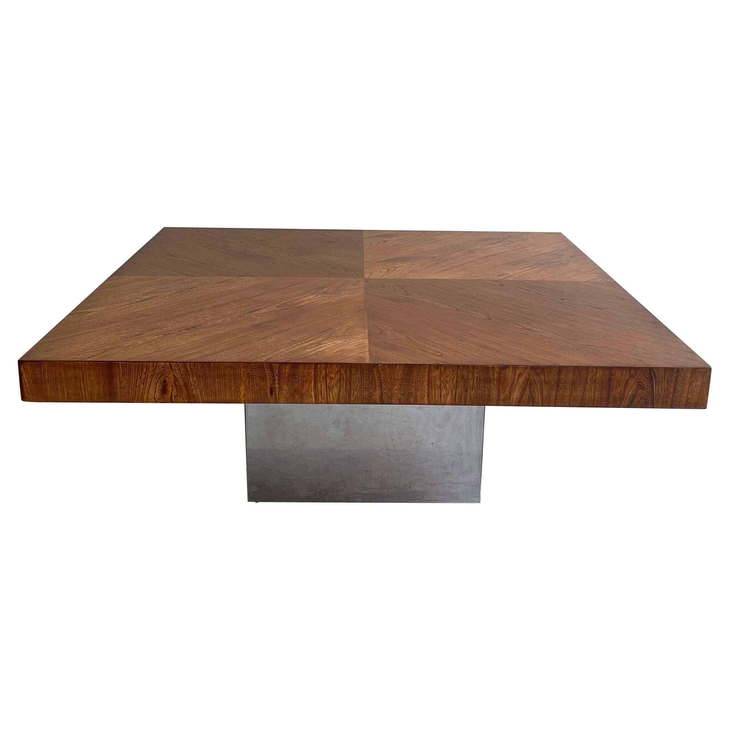 Walnut and Chrome Coffee Table by Milo Baughman for Thayer Coggin