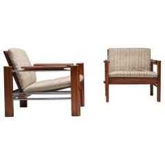 Walnut and Chrome Easy Chairs by Rob Parry for Gelderland