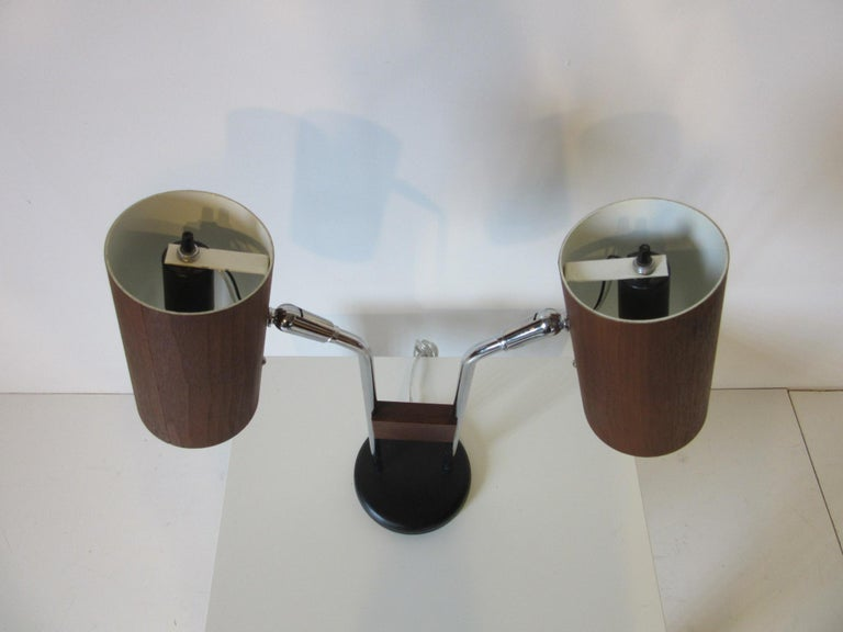 American Walnut and Chrome Table Lamp by George Kovacs For Sale