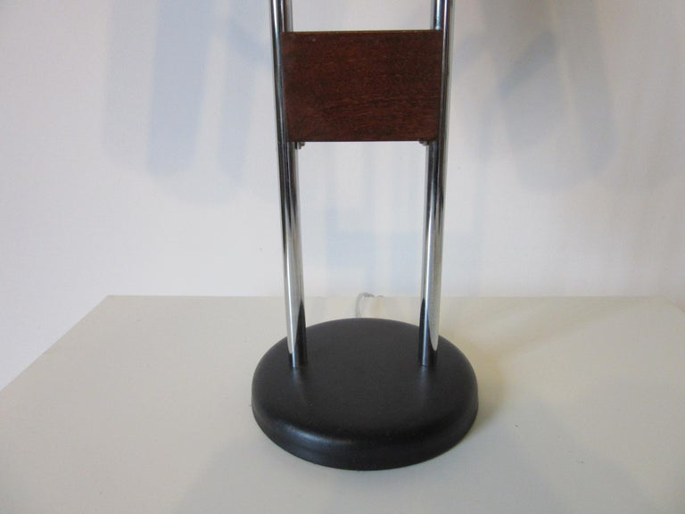 Walnut and Chrome Table Lamp by George Kovacs In Excellent Condition For Sale In Cincinnati, OH