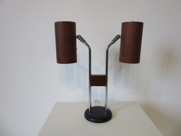 Walnut and Chrome Table Lamp by George Kovacs For Sale 2