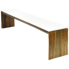 Walnut and Corian Gallery Bench Mid-Century Modern inspired Minimal Handmade
