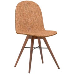 Walnut and Corkfabric Contemporary Chair by Alexandre Caldas