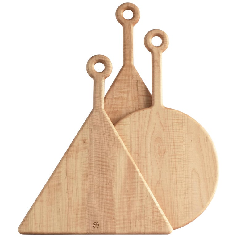 Walnut and Curly Maple Plank Cutting Boards by Fort Standard, in Stock For Sale