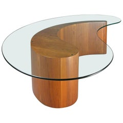 Walnut and Glass Apostrophe Table by Vladimir Kagan
