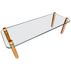 Walnut and Glass Coffee Table Attributed to Fabio Lenci, circa 1969