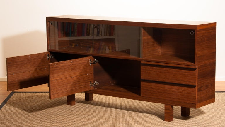 Mid-Century Modern Walnut and Glass Sideboard, Norway, 1980s For Sale