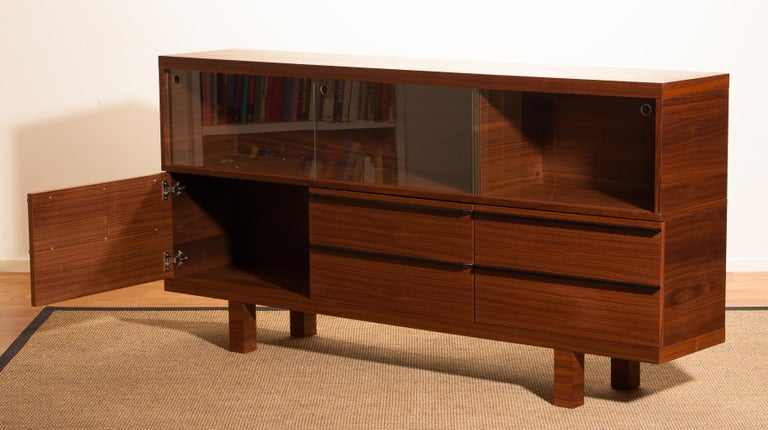 Norwegian Walnut and Glass Sideboard, Norway, 1980s For Sale