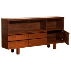Walnut and Glass Sideboard, Norway, 1980s
