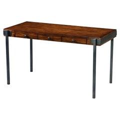 Walnut and Iron Three-Drawer Desk