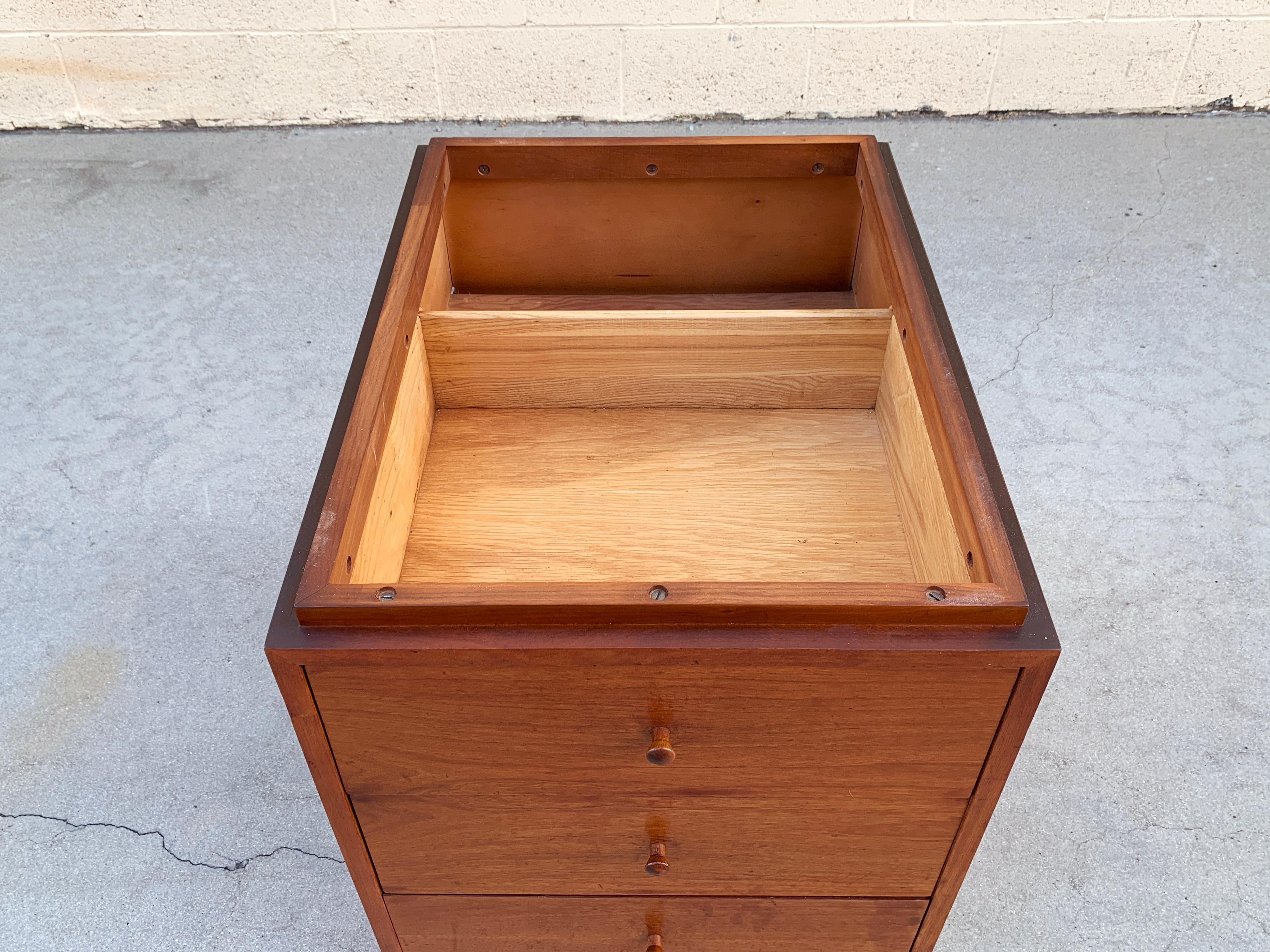 Walnut And Italian Marble Modern Cabinet Side Table With
