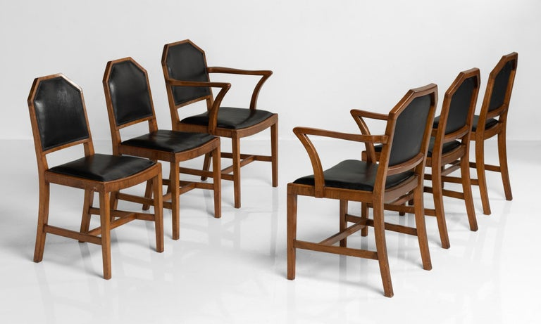 Walnut and Leather Dining Chairs by Heals of London, England, circa 1915