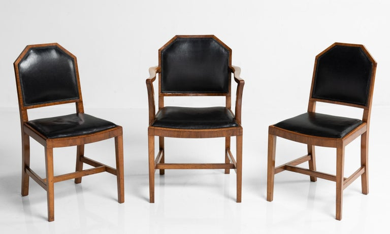 Edwardian Walnut and Leather Dining Chairs by Heals of London, England, circa 1915 For Sale