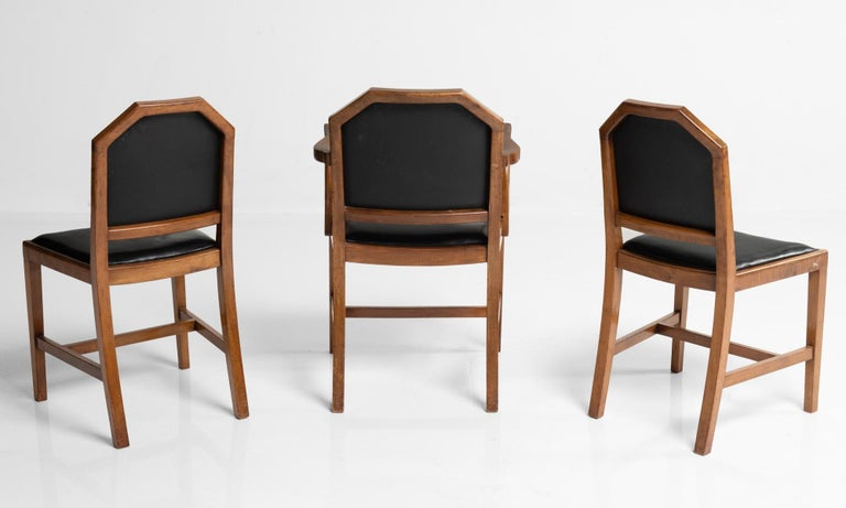 English Walnut and Leather Dining Chairs by Heals of London, England, circa 1915 For Sale