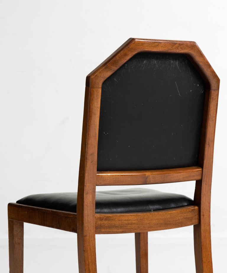 Walnut and Leather Dining Chairs by Heals of London, England, circa 1915 For Sale 2