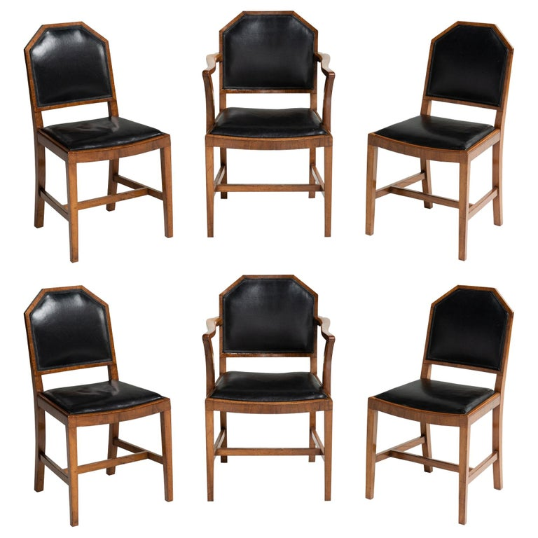 Surprising Walnut And Leather Dining Chairs By Heals Of London England Circa 1915 Andrewgaddart Wooden Chair Designs For Living Room Andrewgaddartcom