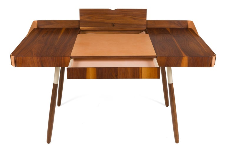 Lacquered Walnut and Leather