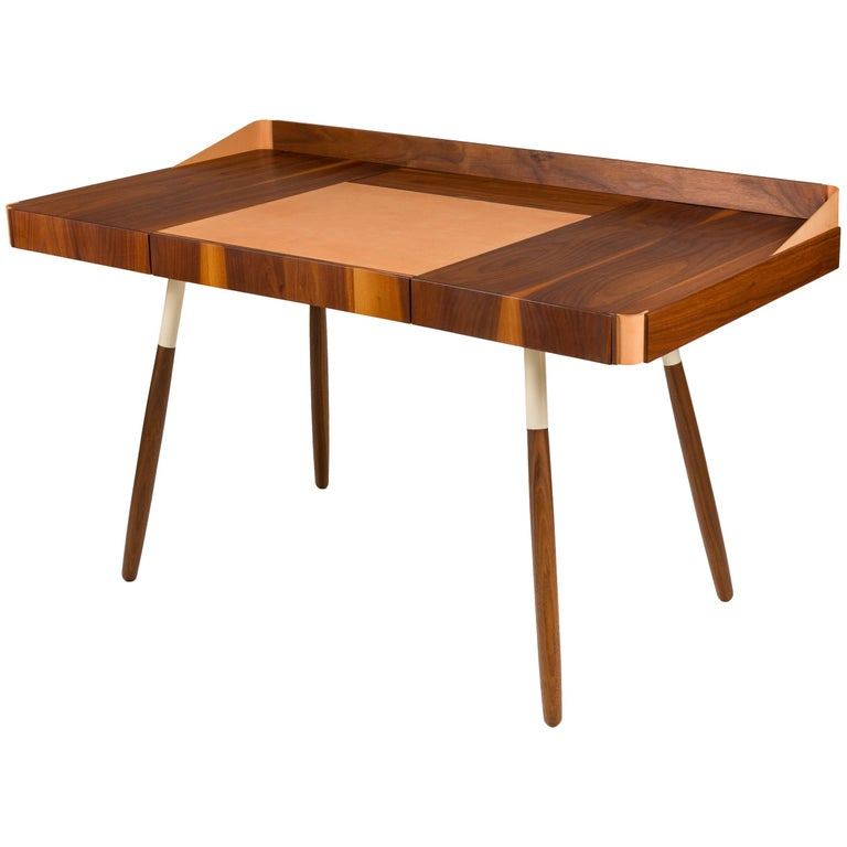 """Walnut and Leather """"Missboss Desk"""" by Oluf Lund for Lop, Denmark For Sale"""